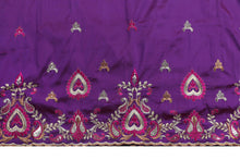 Load image into Gallery viewer, Machine Embroidered George Wrapper Design # 7047 - Purple - Without Blouse