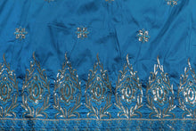 Load image into Gallery viewer, Machine Embroidered George Wrapper Design # 7037 - Turquoise Blue - Without Blouse