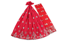 Load image into Gallery viewer, Machine Embroidered George Wrapper Design # 7072 - Red  - With Blouse