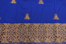 Load image into Gallery viewer, Machine Embroidered George  Wrapper Design # 7431 - Royal Blue - With Blouse