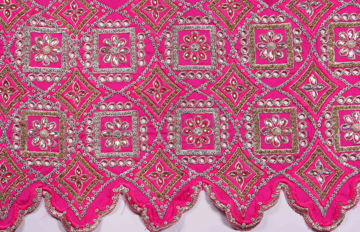Hand Stoned George Wrapper Design # 6546 - Fuchsia Pink - With Contrast Blouse