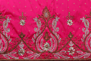 Hand Embroidered George Wrapper Design # 9595 - Fuchsia Pink - With Blouse
