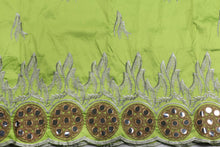 Load image into Gallery viewer, Machine Embroidered George Wrapper Design # 7329 - Lime Green  - With Blouse