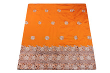 Load image into Gallery viewer, Machine Embroidered George Wrapper Design # 7393 - Saffron - With Blouse