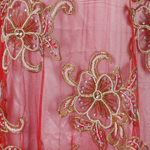 Hand Embroidered Fabric Design # 4115 - Red - Per Yard