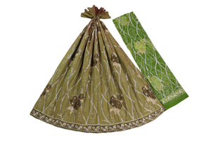 Machine Embroidered George Wrapper Design # 7350 - Olive Green  - With Blouse