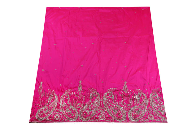 Hand Embroidered George Wrapper Design # 9606 - Fuchsia Pink - With Blouse