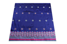 Load image into Gallery viewer, Machine Embroidered George Wrapper Design # 7097- Royal Blue - Without Blouse
