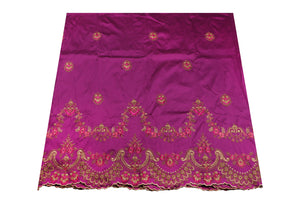 Machine Embroidered George Wrapper Design # 7436 - Magenta - With Blouse