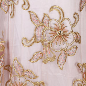 Hand Embroidered Fabric Design # 4115 - Peach - Per Yard