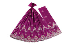 Load image into Gallery viewer, Machine Embroidered George Wrapper Design # 7435 - Magenta- With Blouse
