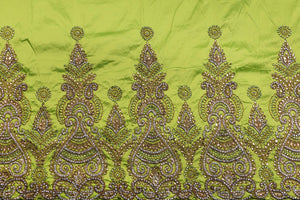 Hand Stoned George Wrapper Design # 6670 - Lime Green - With Blouse