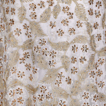 Load image into Gallery viewer, Hand Embroidered Fabric Design # 4175 - Pure White - 5 Yard Piece