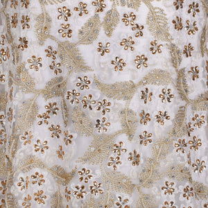 Hand Embroidered Fabric Design # 4175 - Pure White - 5 Yard Piece