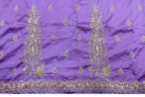 Machine Embroidered George Wrapper Design # 7102 - Lilac - Without Blouse