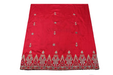 Load image into Gallery viewer, Hand Embroidered George Wrapper Design # 9413 - Red - With Blouse