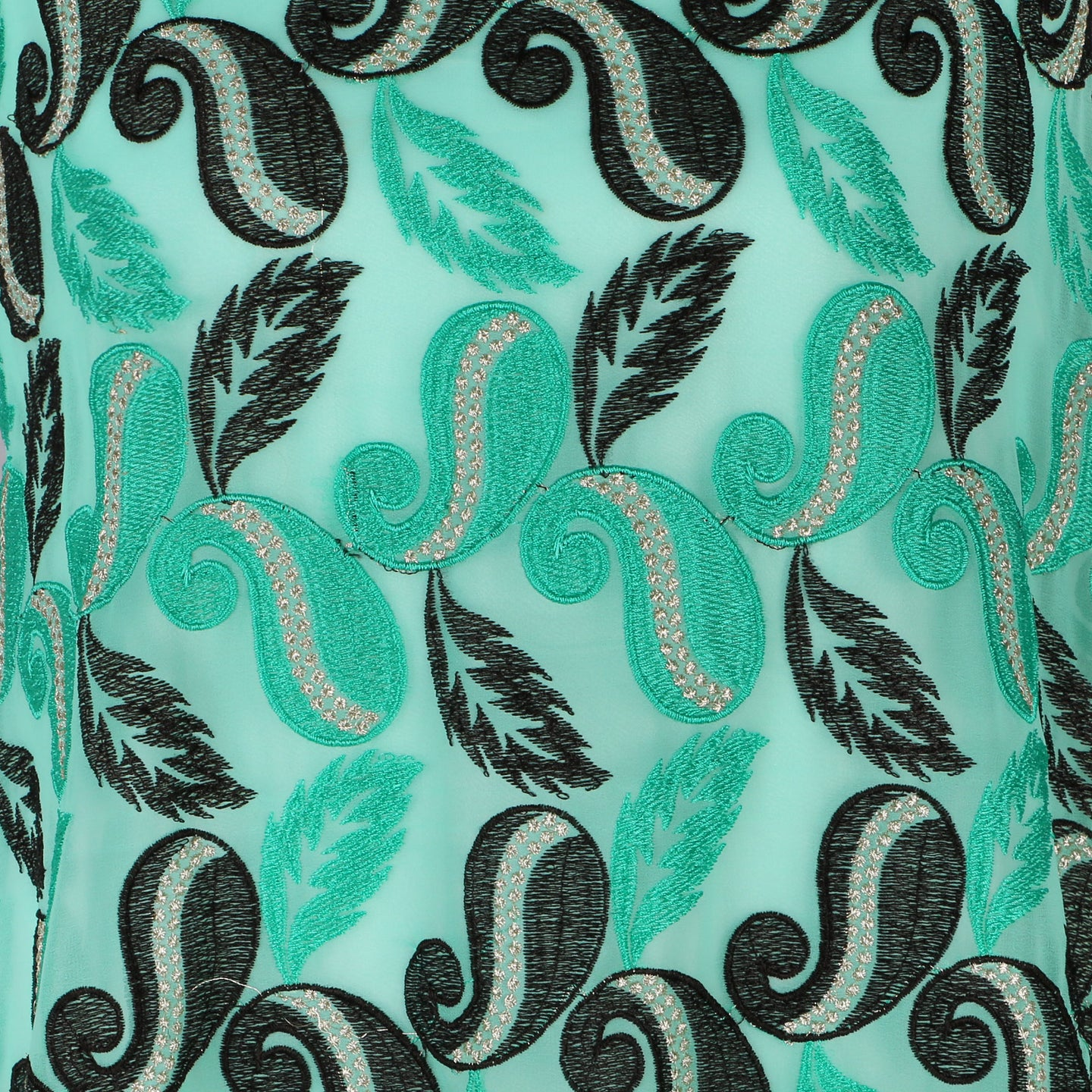 Machine Embroidered Fabric Design # 4129 -Aqua Green   - 5 Yard Piece