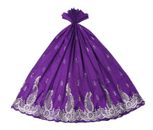 Load image into Gallery viewer, Machine Embroidered George Wrapper Design # 7089 - Purple  - Without Blouse