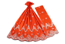 Load image into Gallery viewer, Machine Embroidered George Wrapper Design # 7435 - Burnt Orange - With Blouse