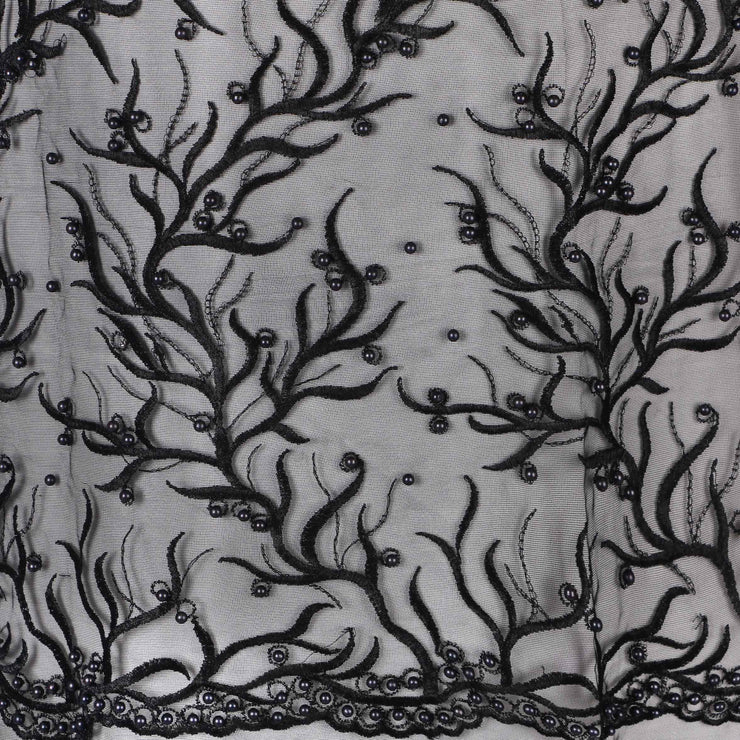 Machine Embroidered Fabric Design # 4030- Black- With Pearls - 5 Yard Piece