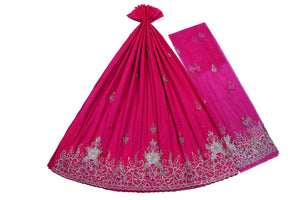 Hand Embroidered George Wrapper Design # 9498 - Fuchsia Pink - With Blouse