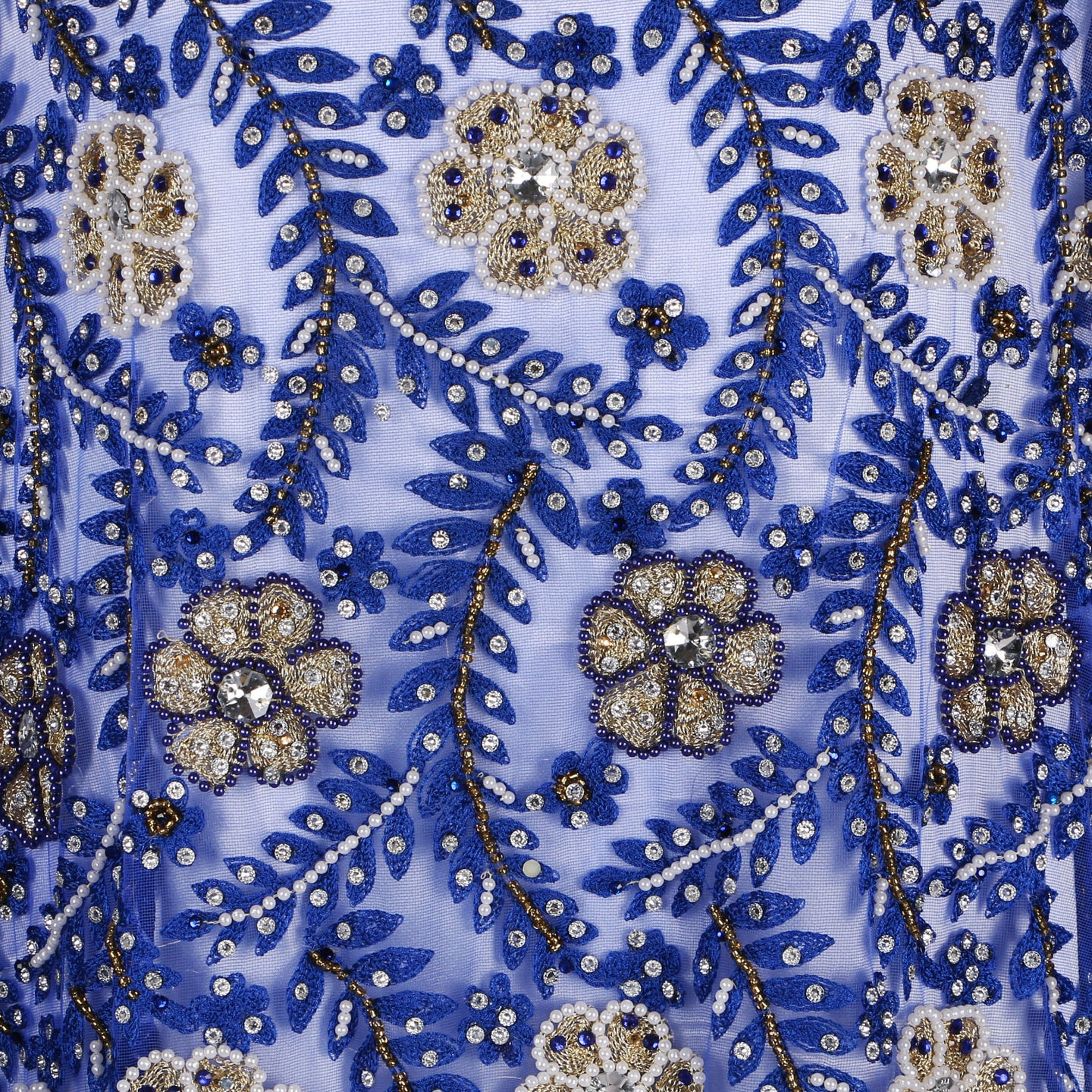 Hand Embroidered Fabric Design # 4054 - Royal Blue  - 5 Yard Piece