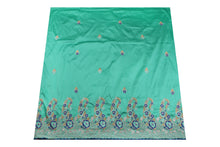 Load image into Gallery viewer, Machine Embroidered George Wrapper Design # 7438 - Aqua Blue- With Blouse