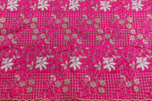 Load image into Gallery viewer, Machine Embroidered George Wrapper Design # 7437 - Fuchsia Pink - Contrast Blouse