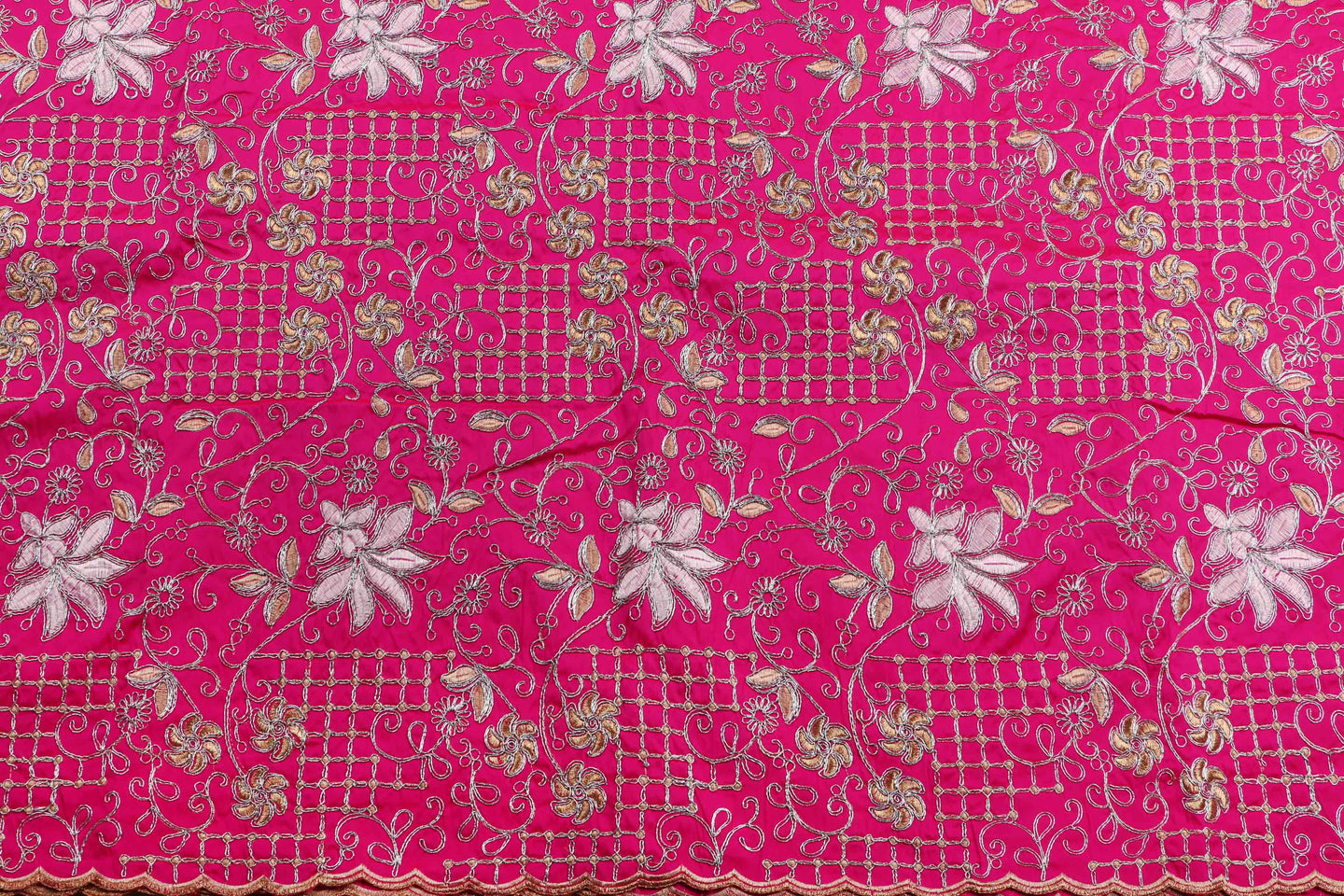 Machine Embroidered George Wrapper Design # 7437 - Fuchsia Pink - Contrast Blouse
