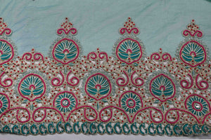 Hand Embroidered Blouse Design # 3240 - Army Green - 1.7 Yards