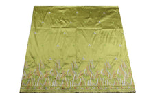 Load image into Gallery viewer, Machine Embroidered George Wrapper Design # 7067 - Lime Green - Without Blouse