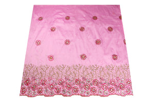 Hand Stoned George Wrapper Design # 6707 - Baby Pink - With Blouse