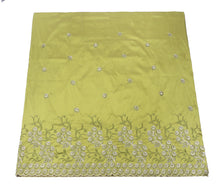 Load image into Gallery viewer, Machine Embroidered George Wrapper Design # 7043 - Lime Green - Without Blouse