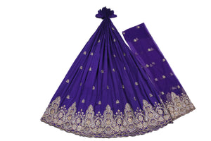 Hand Stoned George Wrapper Design # 6509 - Purple - With Blouse