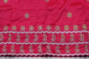 Machine Embroidered George Wrapper Design # 7070 - Fuchsia Pink  - With Blouse