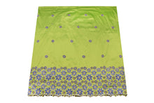 Load image into Gallery viewer, Hand Stoned George Wrapper Design # 6732 - Lime Green - With Blouse