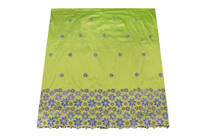 Hand Stoned George Wrapper Design # 6732 - Lime Green - With Blouse