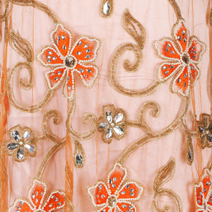Hand Embroidered Fabric Design # 4101 - Burnt Orange - 5 Yard Piece
