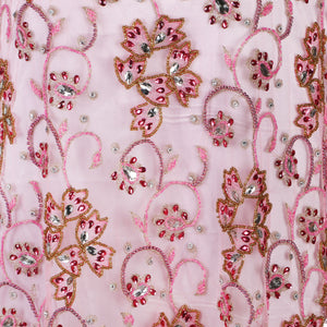 Hand Embroidered Fabric Design # 4089 - Baby Pink - 5 Yard Piece