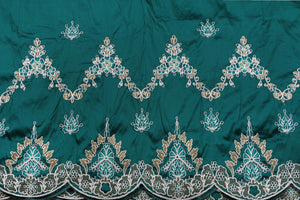 Machine Embroidered George Wrapper Design # 7435 - Teal Green - With Blouse