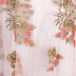 Hand Embroidered Fabric Design # 4057 - Peach - 5 Yard Piece