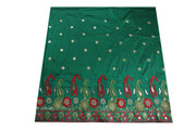 Machine Embroidered George Wrapper Design # 7063 - Bottle Green - Without Blouse