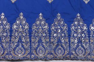 Hand Stoned George Wrapper Design # 6633 - Royal Blue - With Blouse