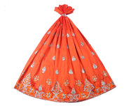 Machine Embroidered George Wrapper Design # 7046 - Burnt Orange - Without Blouse