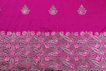 Load image into Gallery viewer, Machine Embroidered George Wrapper Design # 7408 - Fuchsia - With Blouse