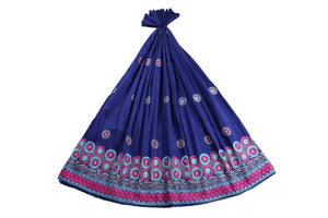 Machine Embroidered George Wrapper Design # 7097- Royal Blue - Without Blouse