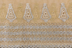 Hand Embroidered Blouse Design # 3368 - Champagne Gold - With Blouse - 1.7 Yards