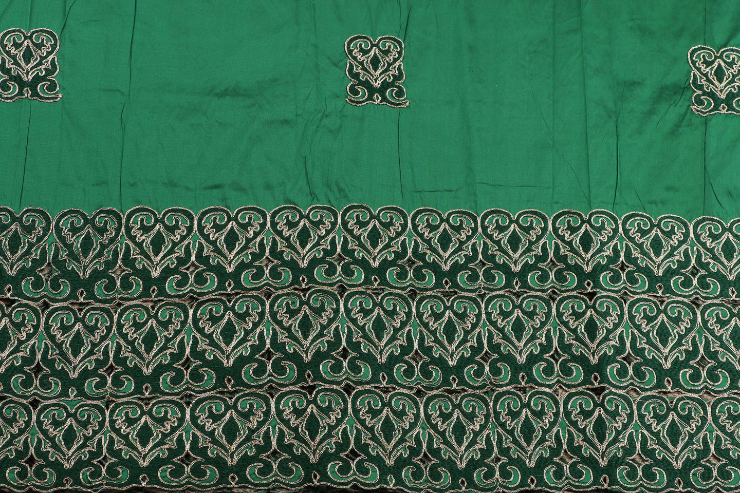 Machine Embroidered George Wrapper Design # 7451 - Pure Green - With Blouse