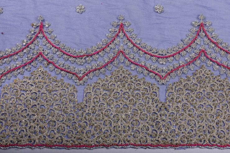 Hand Embroidered Blouse Design # 3202 - Royal Blue - 1.7 Yards