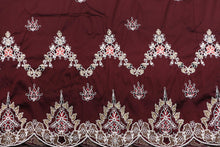 Load image into Gallery viewer, Machine Embroidered George Wrapper Design # 7435 - Wine - With Blouse